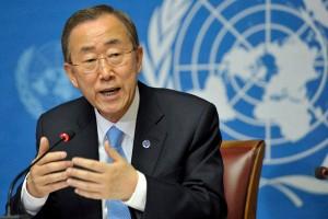Il segretario generale dell'ONU Ban Ki-Moon.