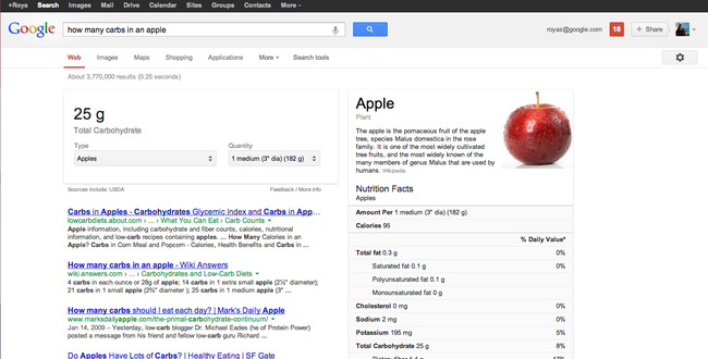 Google informazioni nutrizionali.