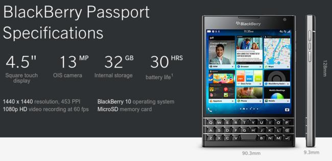 Specifiche del BlackBerry Passport.